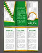 Vector empty trifold brochure print template eco design — Stock Vector