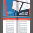 Vector empty bi-fold brochure print template design with blue and red elements — Stock Vector #45226413