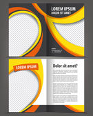 Vector empty bi-fold brochure print template design with yellow and black elements — Stock Vector
