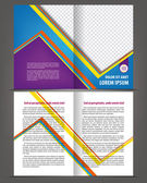 Vector empty bi-fold brochure print template design with blue and violet elements — Stock Vector