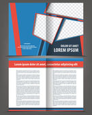 Vector empty bi-fold brochure print template design with blue and red elements — Stock Vector