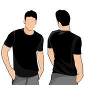 T-shirt mannen terug voor en achter €. — Stockvector