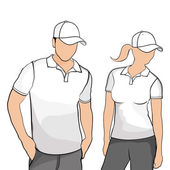 Hombres de camisetas y mujeres. — Vector de stock