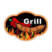 Grill and barbecue sticker — Stock Vector