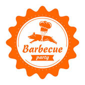 Vector barbecue label design. — Stock Vector