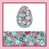 Oeuf de pâques avec motif de fleurs — Vecteur