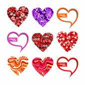 Valentines hearts set. — Stock Vector