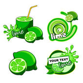 Fruit labels for lime. — Stock Vector