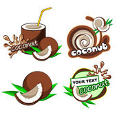 Set of labels with coconut — Stock Vector