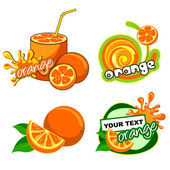 Set of labels with orange — Stock Vector