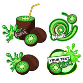 Label design. Kiwi. — Stock Vector