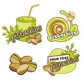 Fruit labels design. Vector pistachios. — Stock Vector