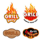 Set of labels with grill and Barbecue — Stock Vector