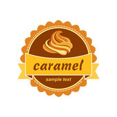 Caramel label design. — Stock Vector