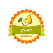 Fruit labels design. Pear mango. — Stock Vector