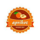 Apricot. Fruit label. — Stock Vector