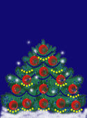 Beautiful Christmas tree on a blue background — Stock Photo
