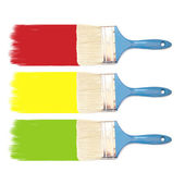 Paint brush and colored inks — Stock Photo