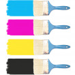 Paint brushes with paint palette CMYK — Stock Photo #21956641