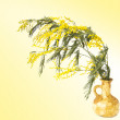 Mimosa branch in a vase on a yellow background — Stock Photo