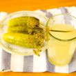 Pickles and pickle in glass — Stock Photo #40076903