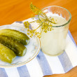 Pickles and pickle in glass — Stock Photo #40076907