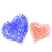 Blue and pink painted heart on white background — Stock Photo