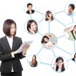 Stock Photo: Young business womin social network