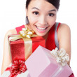 Happy woman take big gift — Stock Photo #12683374