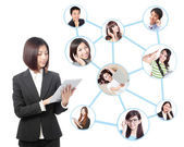 Young business woman in social network — Stock Photo
