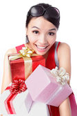 Happy woman take big gift — Stock Photo