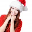 Happy Girl Smile with Christmas hat — Stock Photo #12824609