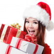Happy Santa Woman with Christmas Gift Box — Stock Photo #13167110