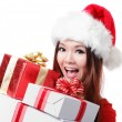 Royalty-Free Stock Photo: Happy Santa Woman with Christmas Gift Box