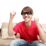 Man wearing 3d glasses watch tv — Stock Photo