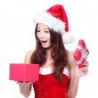 Christmas Woman happy open gift box — Stock Photo