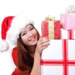 Happy girl smile holding christmas gift — Stock Photo #13851811