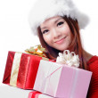 Christmas girl smile holding huge christmas gift — Stock Photo #13851782