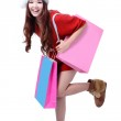 Beauty Girl Take Pink Blank Shopping Bag — Stock Photo #13851862