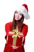 Christmas Girl Smile Holding Gift Box — Stock Photo