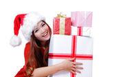 Happy girl with christmas gift — Stock Photo