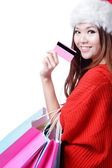 Christmas woman happy take credit card — Stock Photo