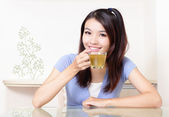 Woman relax drink tea at home — Stock Photo
