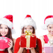 Three happy Christmas girls — Stock Photo