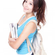Young smiling student woman with book — Stock Photo
