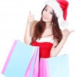 Happy christmas girl excited shopping — Stock Photo