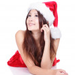Happy xmas woman look to copy space — Stock Photo