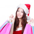 Smile Xmas woman shopping — Foto Stock