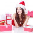 Xmas girl smile holding gift — Stock Photo