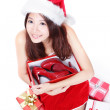 Royalty-Free Stock Photo: Christmas Woman happy hug shoes